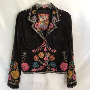 Biya Johnny Was Embroidered Floral Brown Jacket